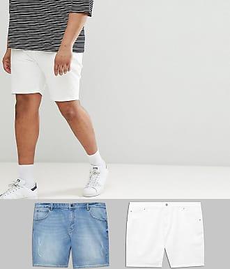 Asos Plus - Shorts skinny en jean - Blanc et délavé clair avec abrasions -  Multi b537539fa30