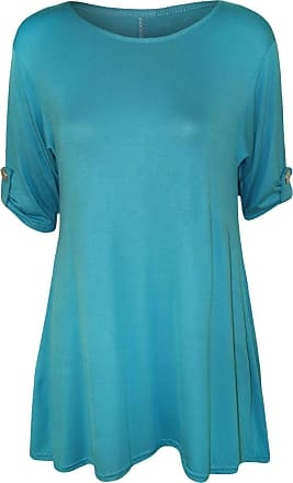 21Fashion Women Button Short Sleeve Plain Swing Flared Top Ladies Scoop Neck Stretchy Party Wear Top Turquoise UK 18