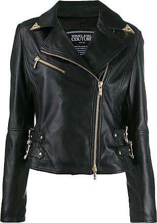 Versace Jeans Couture decorative buckled biker jacket - Preto
