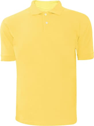 Generic Men Plain Polo T-shirt Yellow L