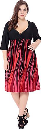YiJee Womens Casual Plus Size Dress Summer Deep V Neck Dresses Knee Length 6XL