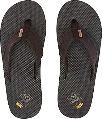 Freewaters Mens Supreem Legacy Flip Flop Sandal w/Arch Support/Vegan Materials/Canvas Strap, Brown/Olive 9 Medium US