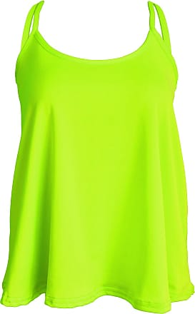 Re Tech UK Ladies New Camisole Cami Plain Strappy Swing Vest Top Flared Sleeveless Neon Yellow