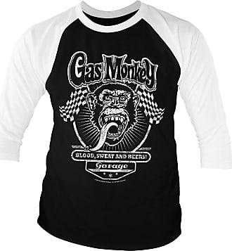 Gas Monkey Garage Officially Licensed GMG Flags Baseball 3/4 Sleeve T-Shirt (White-Black), XXL