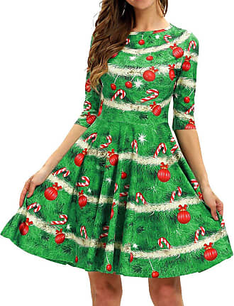 EmilyLe Womens 3D Christmas Dress Vintage Xmas Evening Party Costume Casual Swing Dress (XL, Candy)