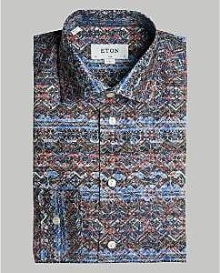 Eton Eng geschnittenes Hemd mit Fair-Isle-Print und spitzem Kragen - 16.5 - Blue/Black
