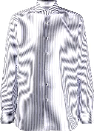 Xacus striped French collar shirt - White