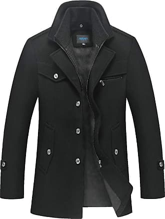QUINTRA Mens Winter Thickened Warm Woolen Coat Solid Color Business Casual Trench Coat Black