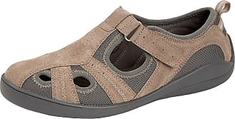 Boulevard Ladies Womens Leather Adjustable Velcro Fastening Sandals Casual Shoes (8, Beige)