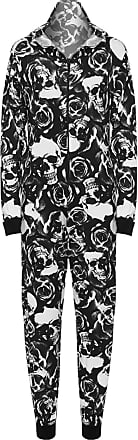 WearAll Womens Animal Aztec Zebra Print Onesie Ladies Playsuit Long Hooded Jumpsuit - Skull Roses - 12/14