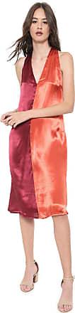 Calvin Klein Jeans Vestido Calvin Klein Jeans Midi Cetim Tricolor Vermelho/Laranja