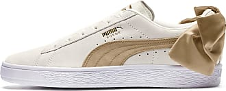 Puma Suede Bow Varsity Womens Trainers, Marshmallow/Metallic Gold, size 3.5, Shoes