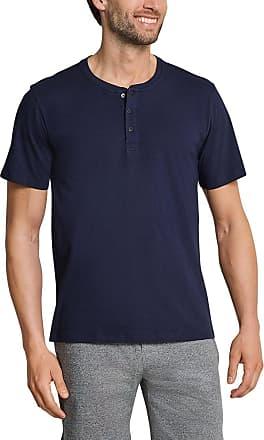 Schiesser Mens Mix & Relax T-Shirt Knopfleiste Pyjama Top, Blue (Dark Blue 803), XL