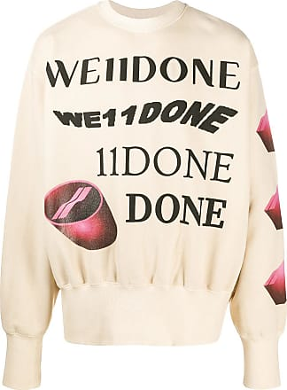 We11done crew neck graphic print jumper - NEUTRALS