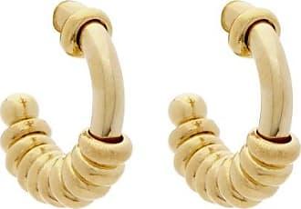 Bottega Veneta Beaded 18kt Gold-plated Silver Hoop Earrings - Womens - Yellow Gold