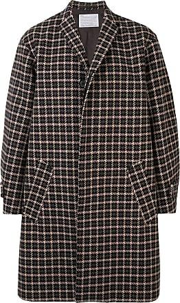 Kolor houndstooth single breasted coat - Brown