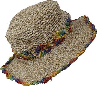 Gheri Hemp Cotton Straw Sun Hat Panama Wide Brim Summer Holiday Colorful Rainbow M