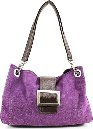 Your Dezire Womens New Womens Italian Suede Twin Strap Leather Buckle Ladies Mini Shoulder Bag Purple