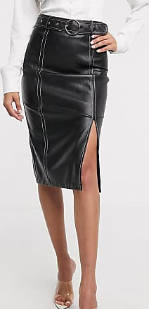 4th + Reckless Tall exclusive pu midi skirt with contrast stitching in black