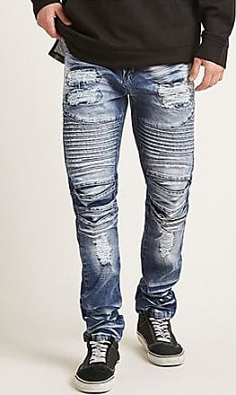 21 Men Victorious Faded Moto Jeans at Forever 21 Blue