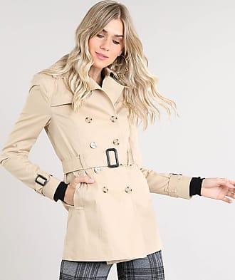C&A Casaco Trench Coat Feminino Transpassado com Bolsos e Cinto Bege