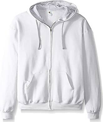 Fruit Of The Loom Mens Full-Zip Hooded Sweatshirt, White, XXX-Large