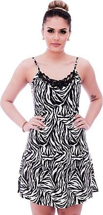 FicaLinda Camisola Feminina de Alça Fina Estampa Zebra com Renda Guipir Preta no Decote