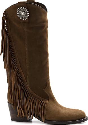 Via Roma 15 Brown Suede Boot with Heel and Fringes - 3259 Velour MARTORA - Size Brown Size: 7 UK