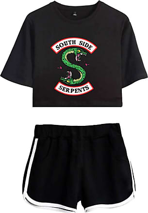 OLIPHEE Inspired Riverdale Jughead Jones Athleisure Tracksuits Crop Top T-Shirts and Shorts Southside Serpents Printed Suit for Women DIY Black-2 2XL