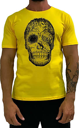 MXD Conceito Camiseta Tradicional Masculina MXD Conceito Forest Skull Florestal Floresta (Amarelo, EG)