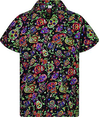 V.H.O. Funky Hawaiian Shirt, Shortsleeve, Skulls, Multi Black, XXL