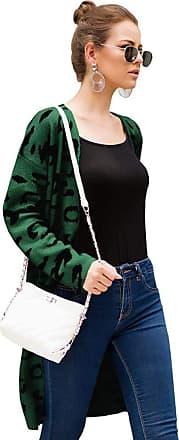 YYW Women Sweater Cardigans Fashion Irregular Leopard Print Open Front Long Sleeve Warm Knit Loose Fit Outwear Coat (Green,L)