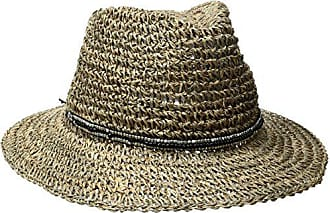 ále by Alessandra Womens Trancoso Crochet Seagrass Hat With Beaded Metal Trim, Black, One Size