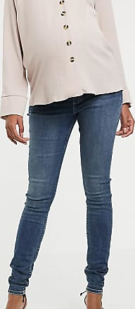 Asos Maternity ASOS DESIGN Maternity Tall Ridley high waisted skinny jeans in extreme dark stonewash blue with under the bump waistband