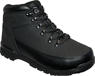 Groundwork LADIES WORK BOOTS, LADIES STEEL TOE CAPS, LACE UP WITH TREAD SOLE (5, black/black)