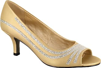 Easy Street Womens Lady Pump, Gold Satin, 8.5 Narrow