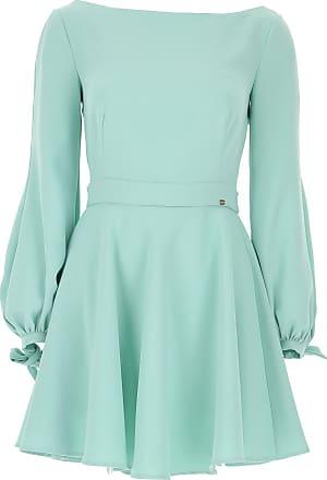 Elisabetta Franchi Dress for Women, Evening Cocktail Party On Sale, aquamarine, polyester, 2017, 6