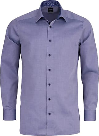 Olymp Luxor Modern Fit Self Patterned Long Sleeve Shirt - Marine Blue 17.5 (44cm) Marine Blue