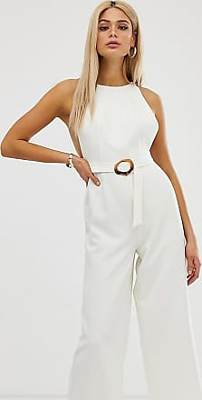 Asos Tall ASOS DESIGN Tall minimal arm hole wide leg jumpsuit with buckle detail-White