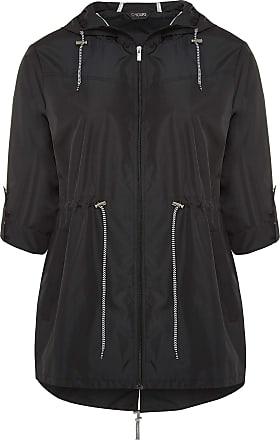 Yours Clothing Clothing Plus Size Womens Pocket Parka with Contrast Drawstrings Size 22-24 Midnight Black