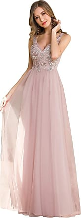 Ever-pretty Womens Floor Length V Neck A Line Empire Tulle Long Formal Ball Dresses with Applique Pink 18UK