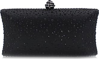 YYW Fashion Womens Glitter Clutch Bag Crystal Diamante Rhinestone Sparkly Evening Bridal Prom Party Handbag Purse (Black)