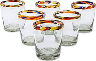 Novica 228622 Confetti Blown Juice Glasses, 3.9, Multicolor