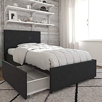 Dorel Home Products Novogratz Kelly Bed with Storage, Twin, Dark Gray Linen