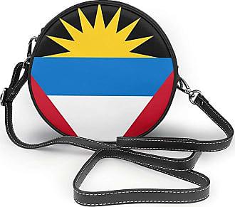 Turfed Antigua And Barbuda Flag Fashion Round PU Crossbody Handbag Round Shoulder Bag For Women Girls