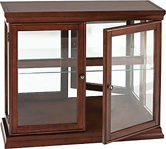 Southern Enterprises Double Door Curio w/ Mirror Back Wall - 2 Fixed Shelves - Chic Style Mahogany Finish