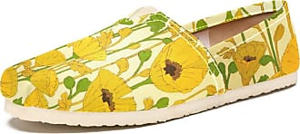 Tizorax Slip on Loafer Shoes for Women Yellow Flower Comfortable Casual Canvas Flat Boat Shoe