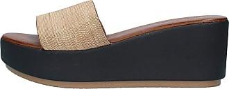 Inuovo Black Leather Sandal with Gold Band 7 cm Heel MOD. 8699 Black Black Size: 8 UK