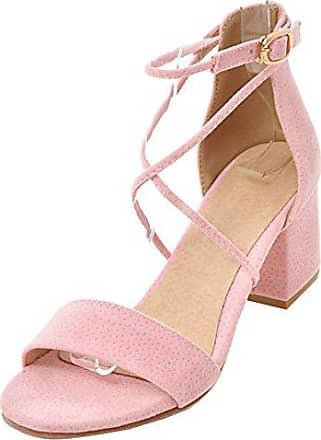 5eef875d5e47c7 Aiyoumei Offene Sandalen Damen mit Absatz Knöchelriemchen Sandalen mit 6cm  Absatz Bequem Sommer High Heels Schuhe