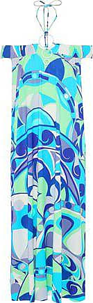 Emilio Pucci Emilio Pucci Woman Off-the-shoulder Ring-embellished Printed Stretch-jersey Midi Dress Turquoise Size 40